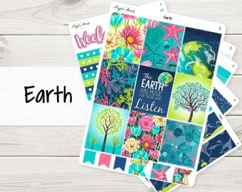 A La Carte | Earth Weekly Kit | Planner Stickers Sized for EC Vertical