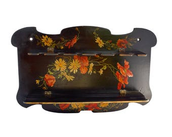 Antique French Black Lacquer Paper Mache Pipe Racks - Napoléon III Flowers Decor Paper Mache