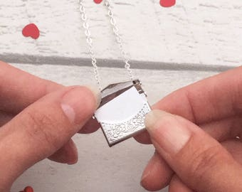 Love Letter Necklace, envelope pendant, love token, love letter pendant, love gift, gifts for her, opening envelope, unusual gift for her