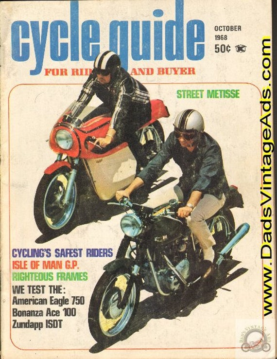 1968 October Cycle Guide Motorcycle Magazine Back-Issue #6810cg