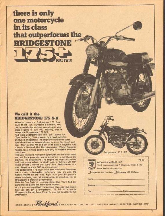 1969 Bridgestone 175 S/R Dual Twin Motorcycle Ad #nbk11