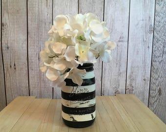 Striped Mason Jar/Black & White Mason Jar