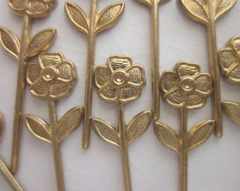 Vintage Brass Stampings, Long-stemmed Flower and Leaves Design, 30mm x 9mm