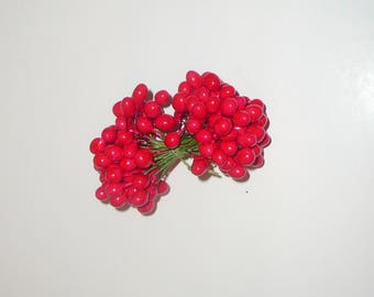 Vintage Millinery Red Holly Bunch Craft Supplies Christmas Bright Red Berries Stamens
