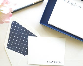 Thank You Cards Fleur De Lis Stationery -Personal Stationery - Navy and White Flat Note Cards