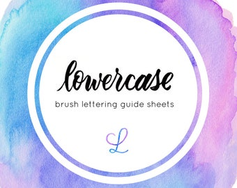 15 page Lowercase brush lettering guide sheets - Instant Download