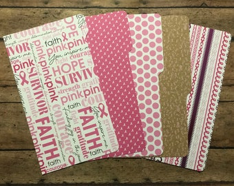PERSONAL Sized Breast Cancer Dashboard and Dividers | Cancer Support | Filofax, Gillio, Day Planner, Kikki K, Franklin Cover, Etc