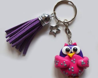 Keychain purple and pink OWL Fimo / polymer clay - purple tassel - OWL gift