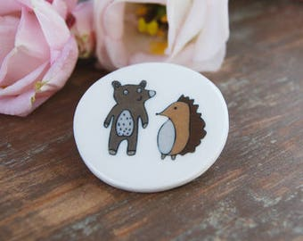 Ceramic Bear and Hedgehog Brooch