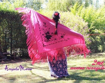 Triangle embroidery piano shawl, Manila pink with black embroidered flowers. silk jersey fabric - Flamenco Spanish Style