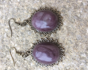 PURPLE POLYMER CLAY DANGLE EARRINGS