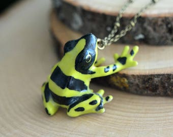 Hand Painted Porcelain Poison Dart Frog Necklace, Antique Bronze Chain, Vintage Style, Ceramic Animal Pendant & Chain (CA132)