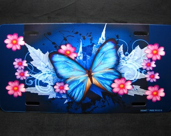 BUTTERFLY Metal Novelty LICENSE PLATE Car Tag For Cars