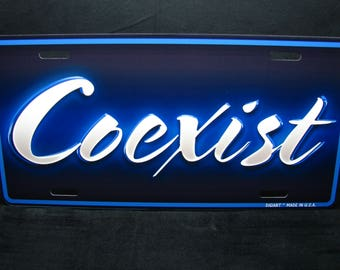 COEXIST Metal Novelty LICENSE PLATE For Cars And Trucks....