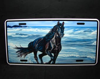 HORSE METAL Novelty License plate For cars Black Horse