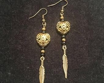 Heart of gold dangle earrings