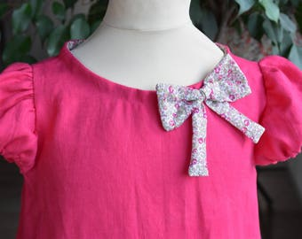 Linen dress Fuchsia with a lovely liberty fabric bow