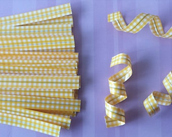 Set of 25 ties (ties) gingham yellow color to your packaging