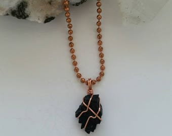 Protection - Black Tourmaline Necklace, Crystal Healing Jewelry, Gemstone, Copper, Wire Wrapped Pendant, Natural Healing, Metaphysical