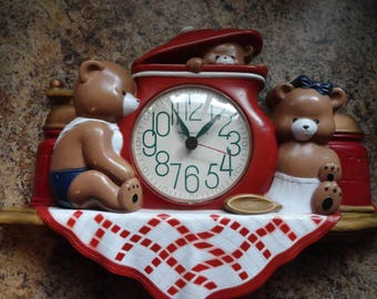 Vintage Country Burwood Bear Kitchen Wall Clock, Wall Decor, Kitchen Decor,  Country Decor