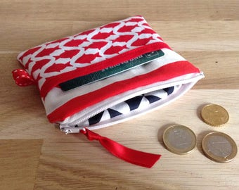 Mini pouch / wallet, fish - red and white