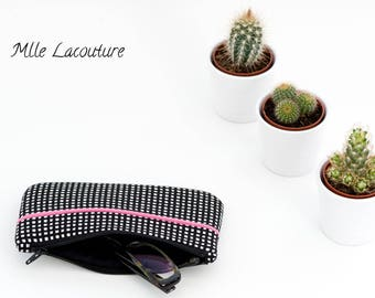 Case for glasses, small clutch in black and white gingham cotton