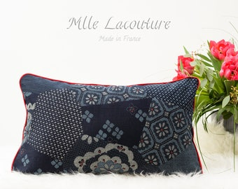 Navy Blue Japanese cotton Cushion cover and light blue red piping