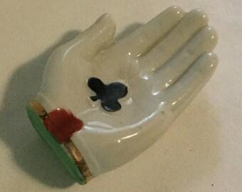 Vintage Porcelain Figural Hand Ashtray Made in Japan