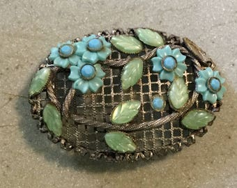 Large Vintage Oval Trellis with Blue Green Plastic Flowers Pin