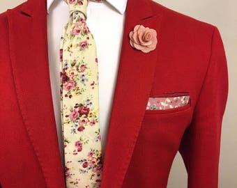 Cream Rose Floral Tie Boyfriend Gift Men's Gift Anniversary Gift for Men Husband Gift Wedding Gift For Him Groomsmen Gift for Friend Gift