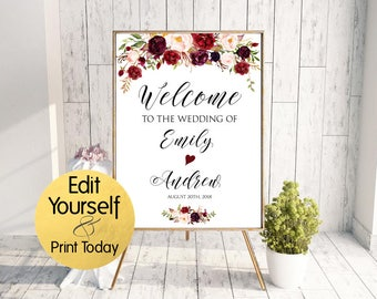 Wedding Welcome Sign Template, Burgundy Welcome Sign, Marsala Welcome Sign, Welcome Sign Template, Welcome Template, Editable Welcome Sign