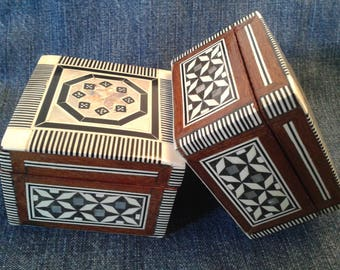 Beautiful Egyptian Trinket Boxes with inlaid Mother of Pearl