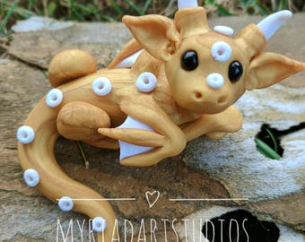 Gold and White Dragon - Polymer Clay Sculpture