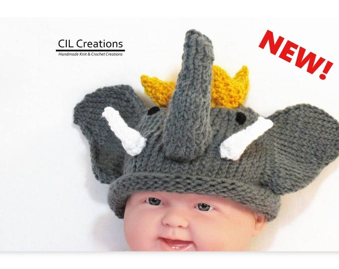 Featured listing image: Child Elephant King Hat Made to Order Multiple sizes Handmade Knit