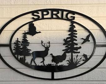 Personalized wildlife scene metal sign