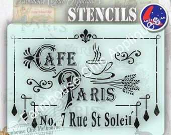 French Stencil, Pochoirs de meubles Mylar Stencil, Cafe Paris Stencil, French Vintage Stencil   #CafeParisStencil  #Pochoirsdemeubles