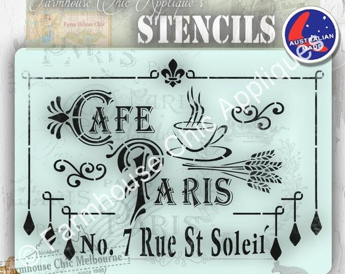 Mylar Furniture Stencil, Cafe Paris Stencil, French Vintage Stencil, Artist Stencil, Cake Stencil, Wall Stencil,  #CafeParisStencil