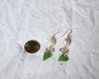 Pearl and Sea Glass Earrings