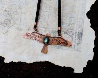 Falcon necklace, Copper falcon necklace, Falcon pendant, Labradorite necklace, Labradorite pendant, Animal pendant, Bird pendant, Falcon