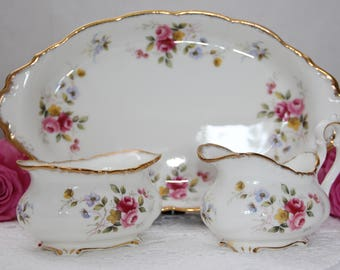 Vintage English 1970s Royal Albert Tenderness Creamer and Sugar bowl Set with Regal Tray in Victoria Shape, Porcelain Kitchen Collectible