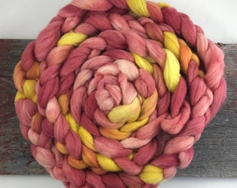 Weld and Madder Root on Fine Wool Roving