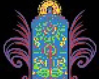 Psychedelic TARDIS Perler Bead Sprite Pattern Pixel 8 bit Whovian