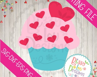 Heart Cupcake SVG DXF EPS png cupcake cut file love svg valentine svg valentines svg heart svg sayings svg cute svg baby svg cupcake clipart