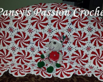 IN STOCK - Hand Crocheted Peppermint Blanket