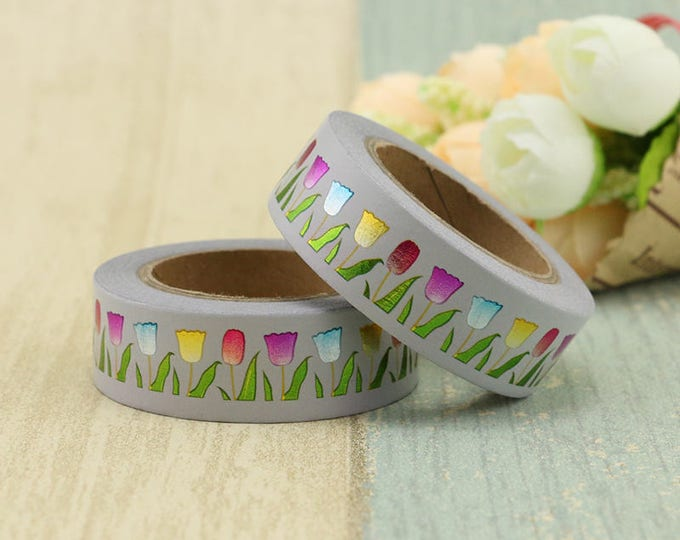 Foil Tulip Washi Tape - Foiled  Washi Tape -  washi Tape - Paper Tape - Planner Washi Tape - Decorative Tape - foiled Floral Washi tape