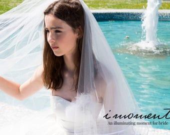 Soft White Wedding Veil// Wedding Veil,  Two Layer Fingertip length, White wedding veils, Romantic and Classic Veils, Beautiful veils