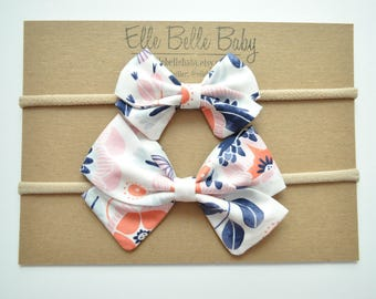 Orange, Pink, Navy Floral Anna Large & Mini Hair bow-Sailor Bow-Baby Headband-Newborn Cotton Hairbow-Toddler Hair clip-Fabric Bow with tails