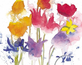 Spring Flowers Watercolour Print