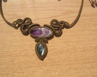 macrame necklace with two semi precious amethyst and labradorite