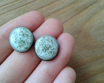 Ceramic clay handmade natural round white stud earrings